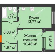 1 комнатная квартира 37,92 м² в ЖК Суворов-Сити, дом 1 очередь секция 6-13 - планировка