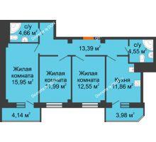 3 комнатная квартира 83,07 м² в ЖК Горизонт, дом № 2 - планировка
