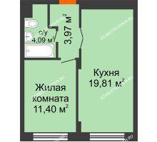 1 комнатная квартира 39,27 м², ЖК КМ Молодежный, 76 - планировка