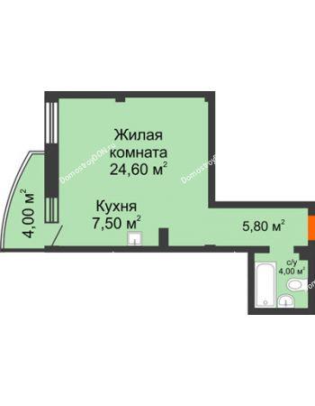 1 комнатная квартира 43,1 м² - ЖК Южная Башня