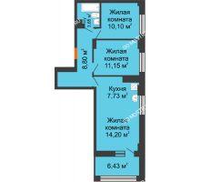 3 комнатная квартира 58,85 м² - ЖК Каскад на Сусловой
