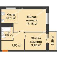 2 комнатная квартира 47,87 м² в ЖК На Хмельницкого, дом № 3 - планировка