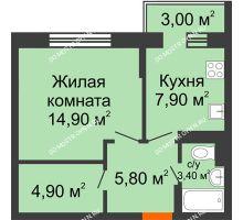 1 комнатная квартира 37,8 м² в ЖК Жюль Верн, дом № 1 корпус 1 - планировка