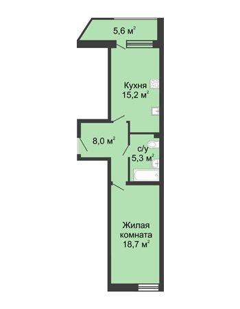 1 комнатная квартира 52,9 м² в ЖК Монолит, дом № 89, корп. 3