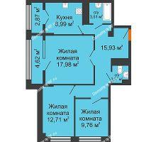 3 комнатная квартира 78,59 м² в ЖК СИТИДОМ, дом 4 очередь,корпус 3 - планировка