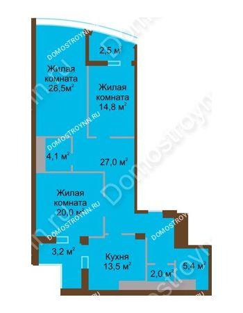 3 комнатная квартира 119 м² в ЖК Монолит, дом № 89, корп. 1, 2