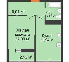 1 комнатная квартира 32,71 м² в ЖК Рекорд, дом 2 этап - планировка