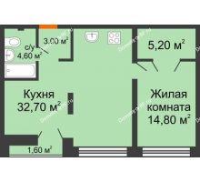 1 комнатная квартира 60,3 м² в ЖК Европейский квартал, дом ГП 3 - планировка