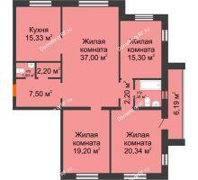 4 комнатная квартира 125,05 м² в ЖК На Гнаровской, дом № 12 корпус 9 - планировка