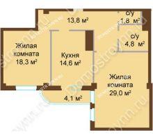 2 комнатная квартира 86,4 м², ЖК Бояр Палас - планировка