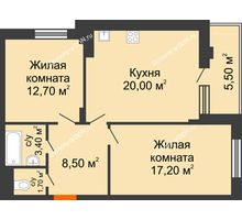 2 комнатная квартира 63,8 м² в ЖК Вересаево, дом Литер 5/1