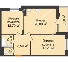 2 комнатная квартира 63,8 м² в ЖК Вересаево, дом Литер 5/1 - планировка