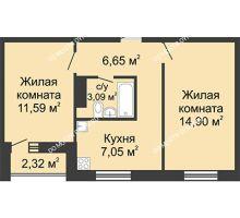 2 комнатная квартира 44,44 м² в ЖК Бурнаковский, дом № 38 - планировка