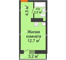 Студия 21,66 м² в ЖК Корабли, дом № 10 - планировка