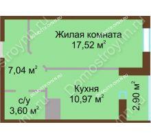 1 комнатная квартира 42,03 м² в ЖК Красная поляна, дом № 8