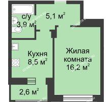 1 комнатная квартира 35 м² в ЖК Аквамарин, дом №2