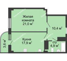 1 комнатная квартира 55,3 м² в ЖК Звездный, дом № 5