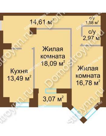 2 комнатная квартира 68,2 м² - ЖК Грани