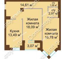 2 комнатная квартира 68,3 м² - ЖК Грани