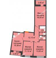 3 комнатная квартира 77,97 м² в ЖК Ватсон, дом № 3 - планировка