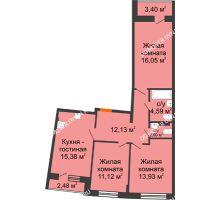 3 комнатная квартира 78,14 м² в ЖК Ватсон, дом № 3 - планировка
