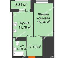 1 комнатная квартира 40,46 м², ЖК Командор - планировка