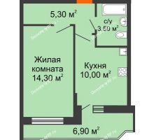 1 комнатная квартира 35,5 м² в ЖК Победный, дом Литер 3 - планировка