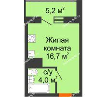 Студия 23,3 м² в ЖК Зеленый Мыс, дом ГП-1 - планировка