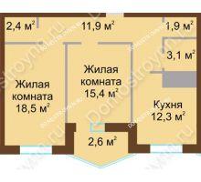 2 комнатная квартира 68,1 м² в ЖК Монолит, дом № 89, корп. 1, 2 - планировка