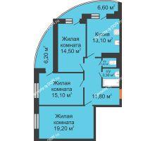 3 комнатная квартира 84,7 м² в ЖК Вересаево, дом Литер 7/2 - планировка