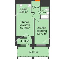 1 комнатная квартира 48,8 м² в ЖК Дом на Набережной, дом № 1 - планировка