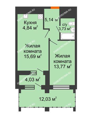 1 комнатная квартира 48,8 м² в ЖК Дом на Набережной, дом № 1