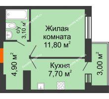 1 комнатная квартира 28,4 м² в ЖК Новая Пальмира, дом № 65 - планировка