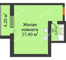 Студия 34,8 м² в ЖК Сиреневый квартал, дом Секция 2 - планировка
