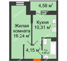 1 комнатная квартира 37,68 м² в ЖК Россинский парк, дом Литер 1 - планировка