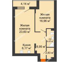 2 комнатная квартира 64,18 м² в ЖК Семья, дом № 2 - планировка
