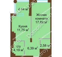 1 комнатная квартира 42,8 м² в ЖК Сердце Нижнего, дом № 36 - планировка