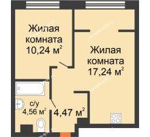 """2 комнатная квартира 36,51 м² в ЖК Европейский берег, дом ГП-9 """"Дом Монако"""" - планировка"""