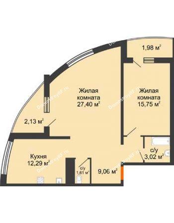 2 комнатная квартира 73,24 м² в ЖК Фамилия, дом Литер 1