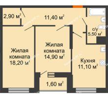 2 комнатная квартира 69,4 м² в ЖК Новая Панорама, дом № 1 - планировка