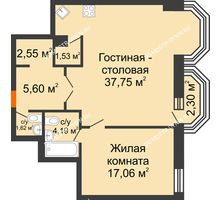 2 комнатная квартира 70,99 м², ЖК Дом на Гребешке - планировка