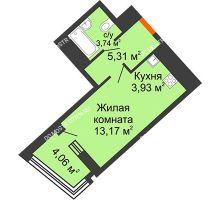 Студия 28,18 м² в ЖК Дом на Набережной, дом № 1 - планировка