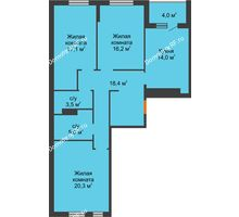 3 комнатная квартира 94,5 м² в ЖК Айвазовский, дом ГП 2 Дом «Средиземный» - планировка