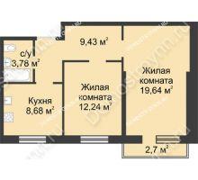 2 комнатная квартира 54,58 м² в ЖК Тридесятое, дом № 23 - планировка