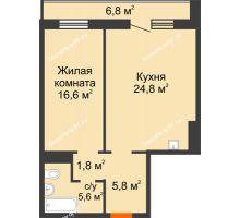 2 комнатная квартира 58 м² в ЖК Мичурино, дом № 3.2 - планировка