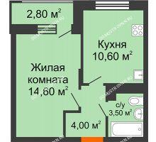 1 комнатная квартира 34,1 м² в ЖК Цветы 2, дом № 4 - планировка