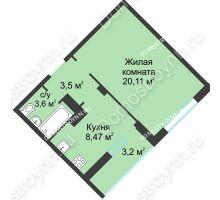 1 комнатная квартира 38,88 м² в ЖК На Вятской, дом № 3 (по генплану)