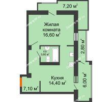 1 комнатная квартира 49,7 м², ЖК Утро - планировка