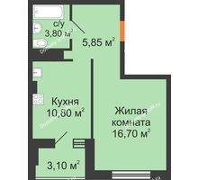1 комнатная квартира 38,2 м², ЖК Вершина - планировка