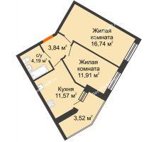 2 комнатная квартира 51,77 м² в ЖК Бунина парк, дом 3 этап, блок-секция 3 С - планировка